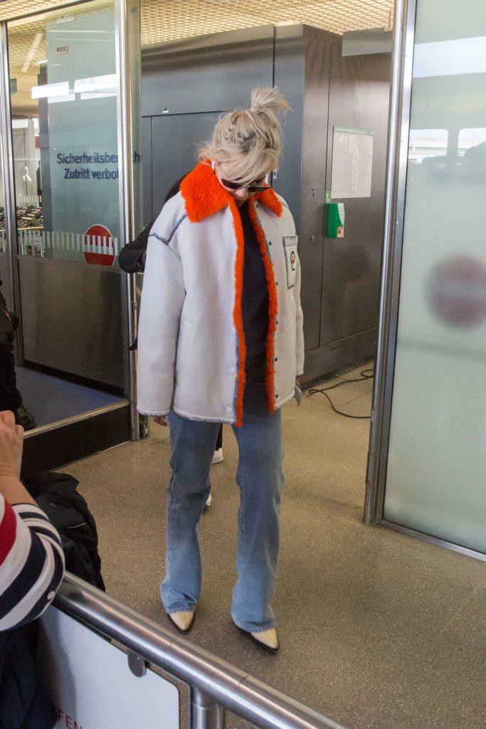Rita Ora in a Gray Sheepskin Coat