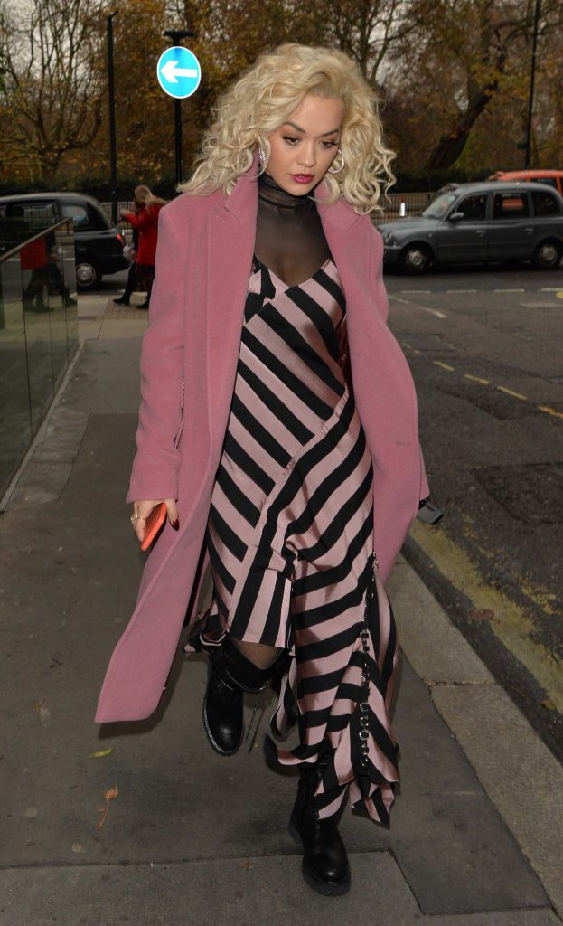 Rita Ora in a Pink Coat