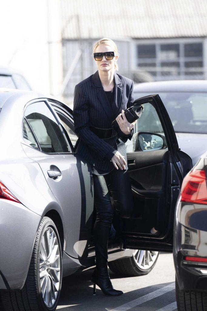 Rosie Huntington-Whiteley in a Black Leather Trousers