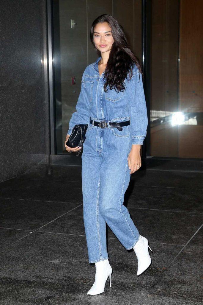 Shanina Shaik in a Blue Denin Overalls