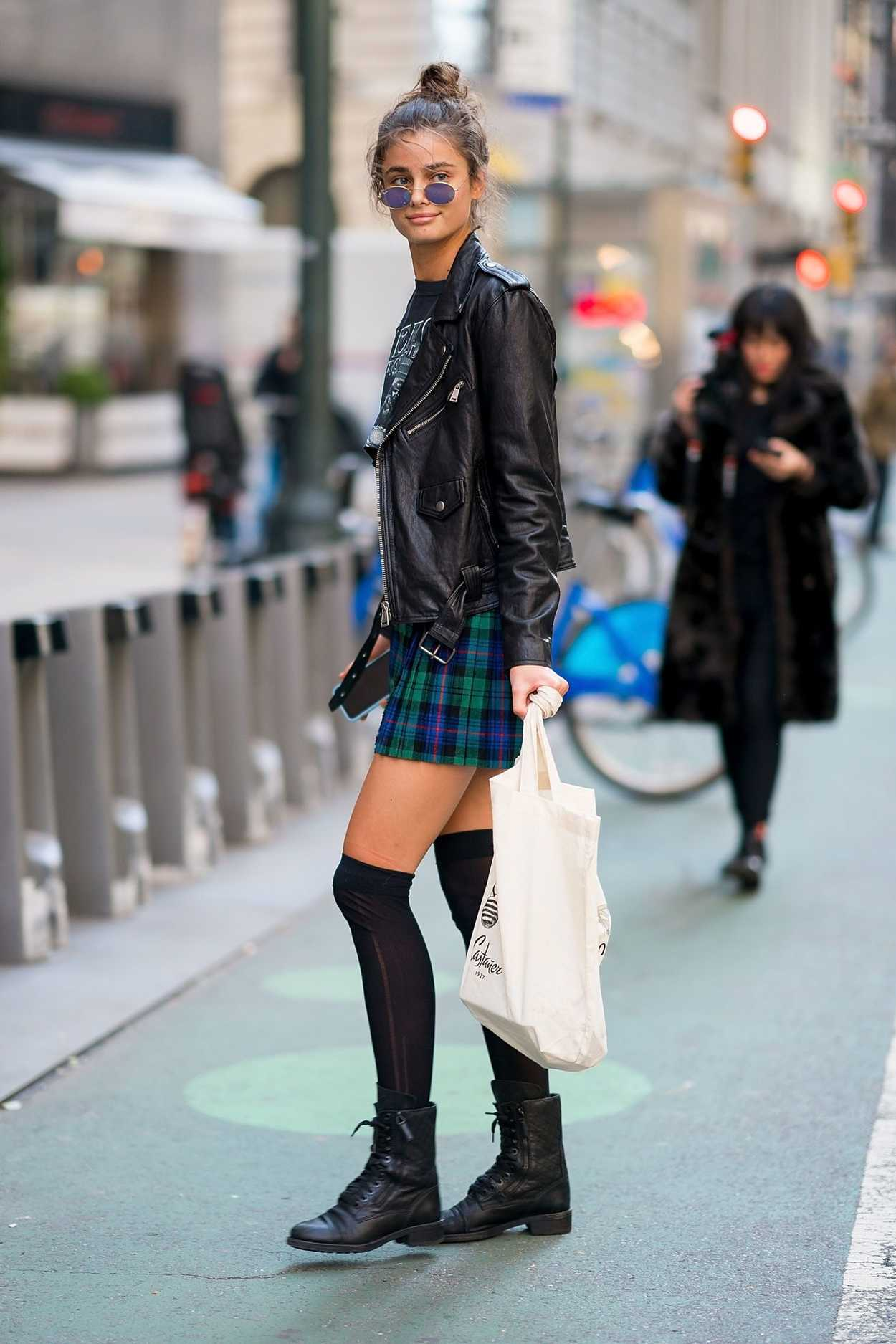 Taylor Hill In A Short Plaid Skirt Leaves Victoria S
