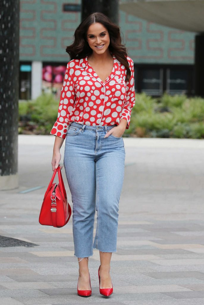 Vicky Pattison in a Red Polka Dot Blouse