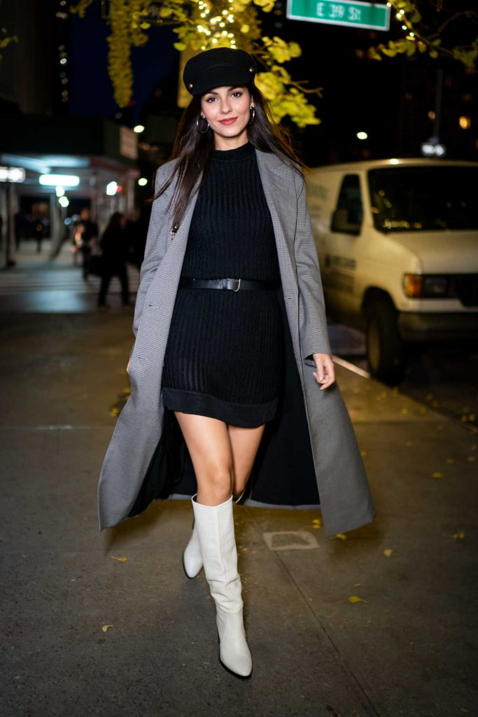 Victoria Justice in a Gray Coat