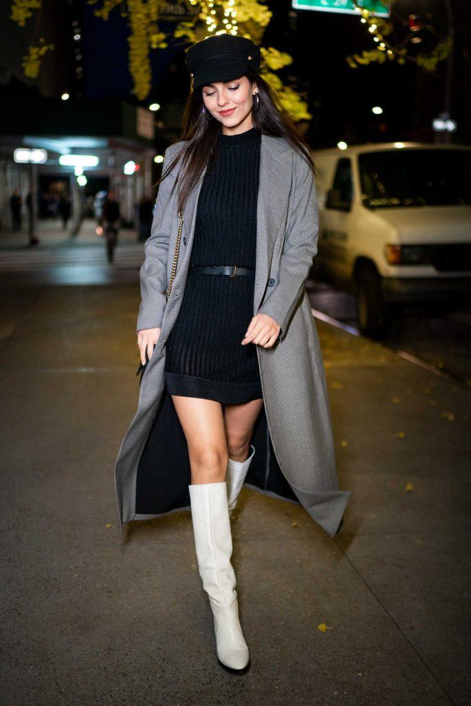 Victoria Justice in a Gray Coat