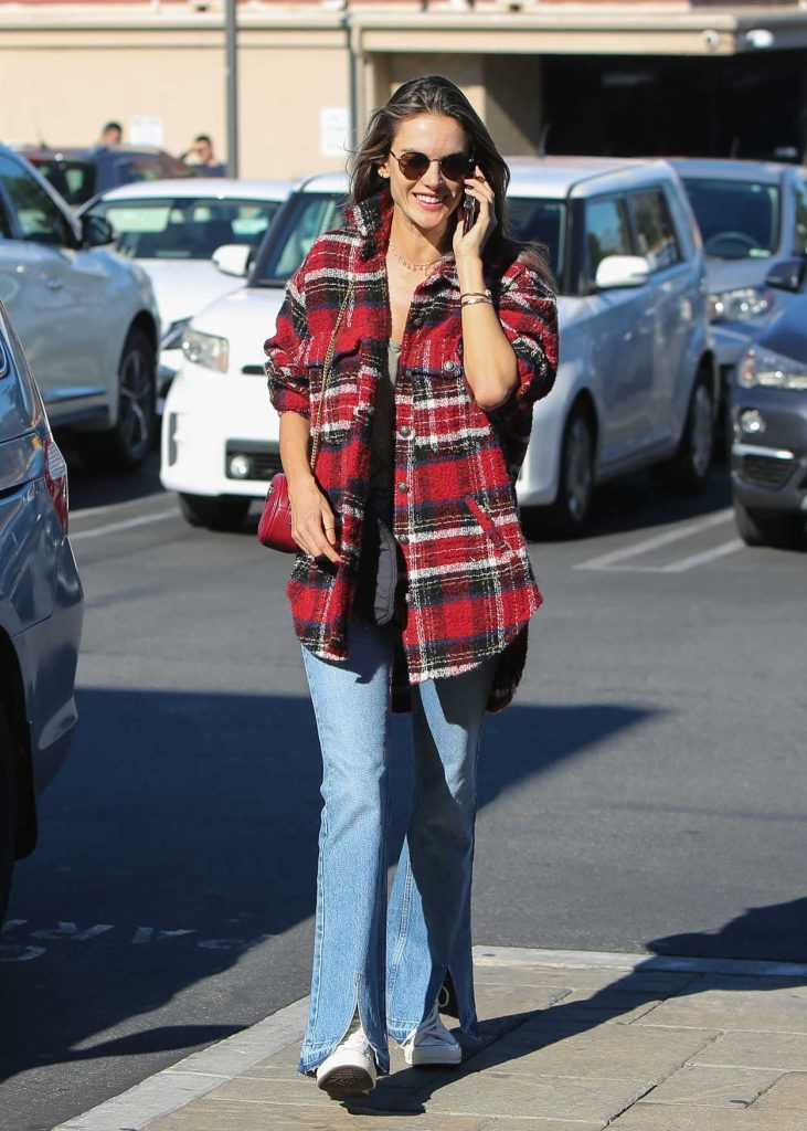 Alessandra Ambrosio in a Plaid Shirt