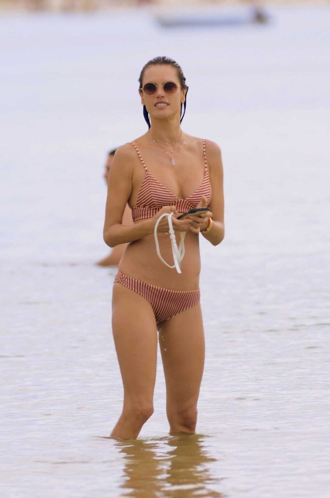 Alessandra Ambrosio in a Striped Pink Bikini