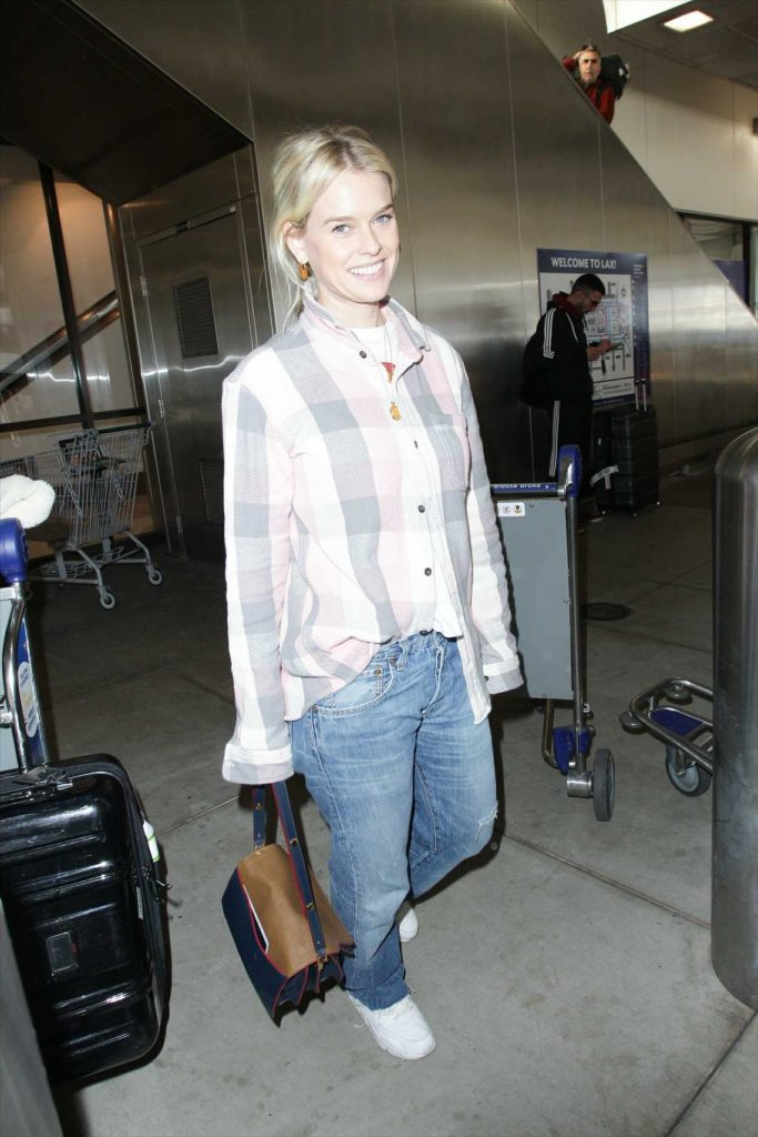 Alice Eve in a Plaid Shirt