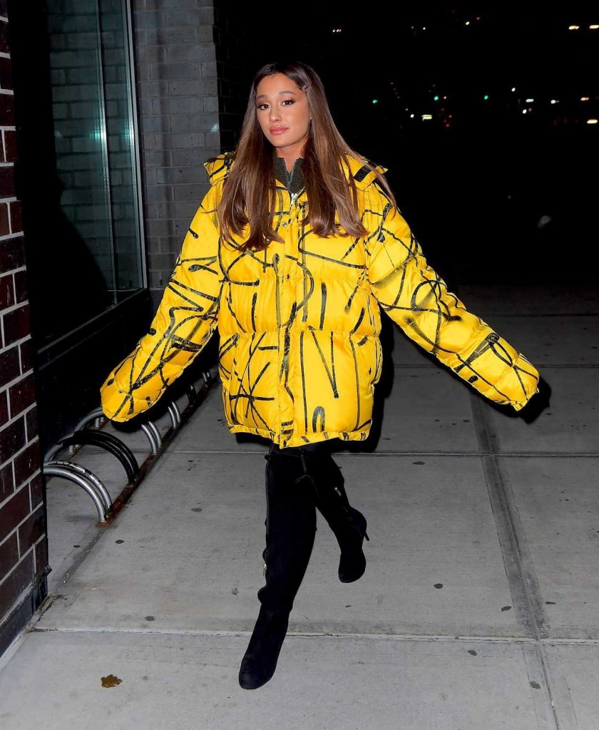 Ariana Grande in a Yellow Oversized Puffer Jacket