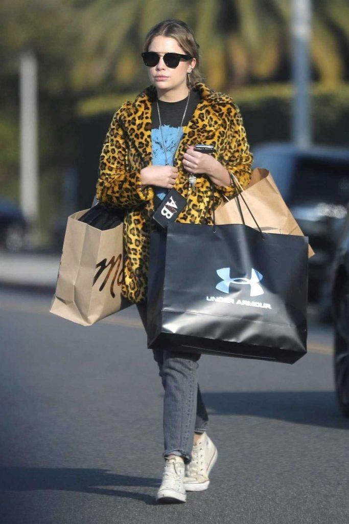 Ashley Benson in Leopard Print Fur Coat