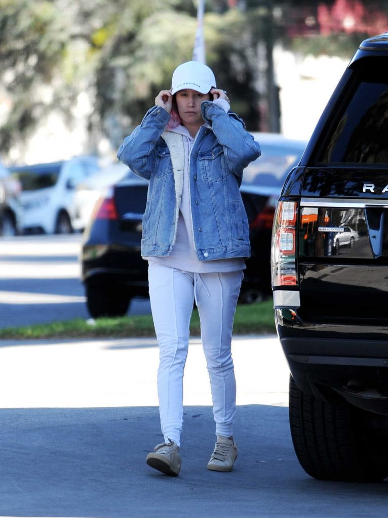 Ashley Tisdale in a White Cap