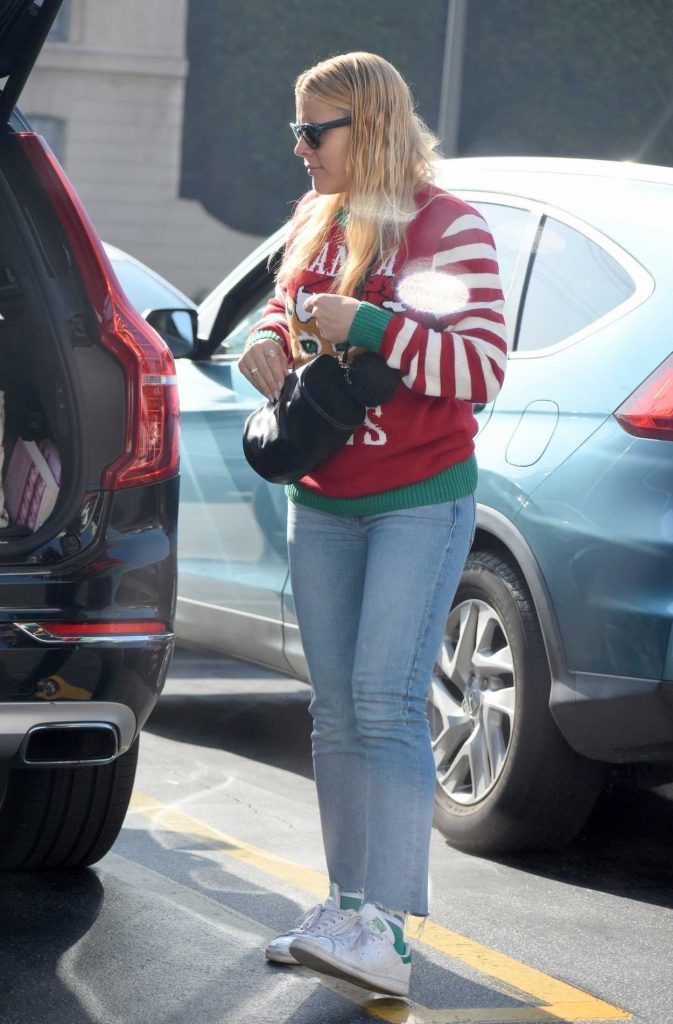 Busy Philipps in a White Adidas Sneakers
