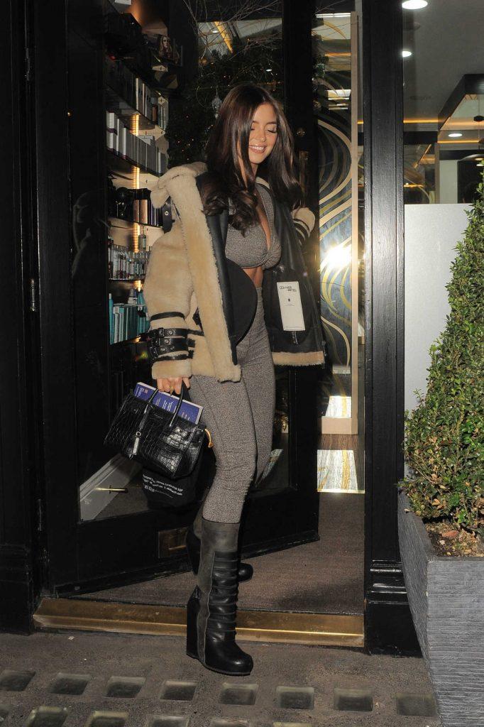 Demi Rose in a Beige Sheepskin Jacket