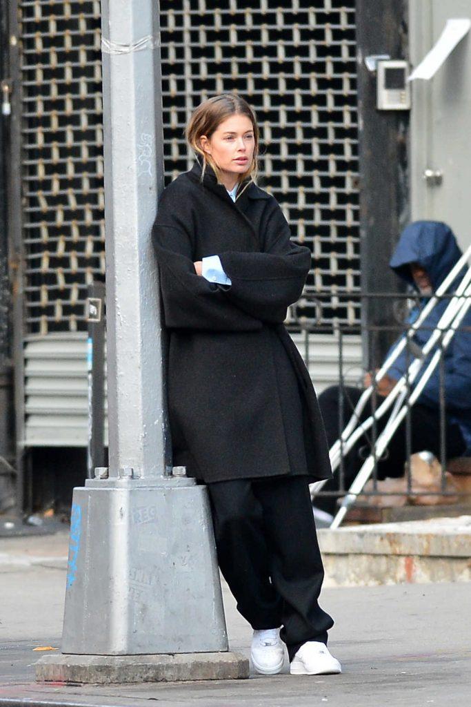Doutzen Kroes in a Black Coat