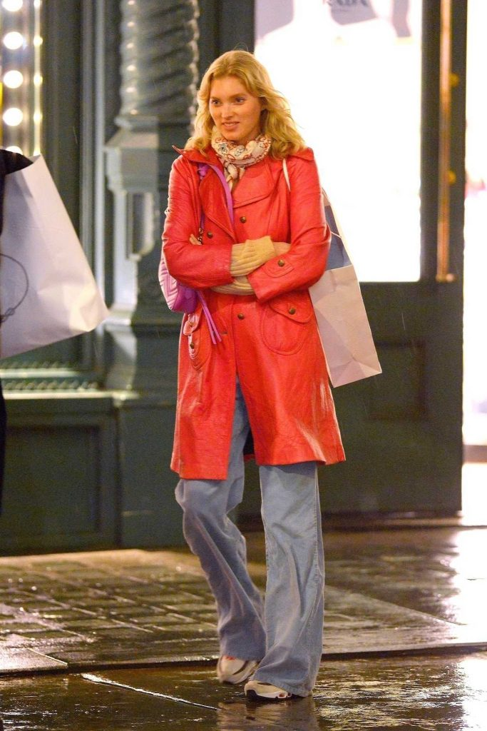 Elsa Hosk in a Red Trench Coat