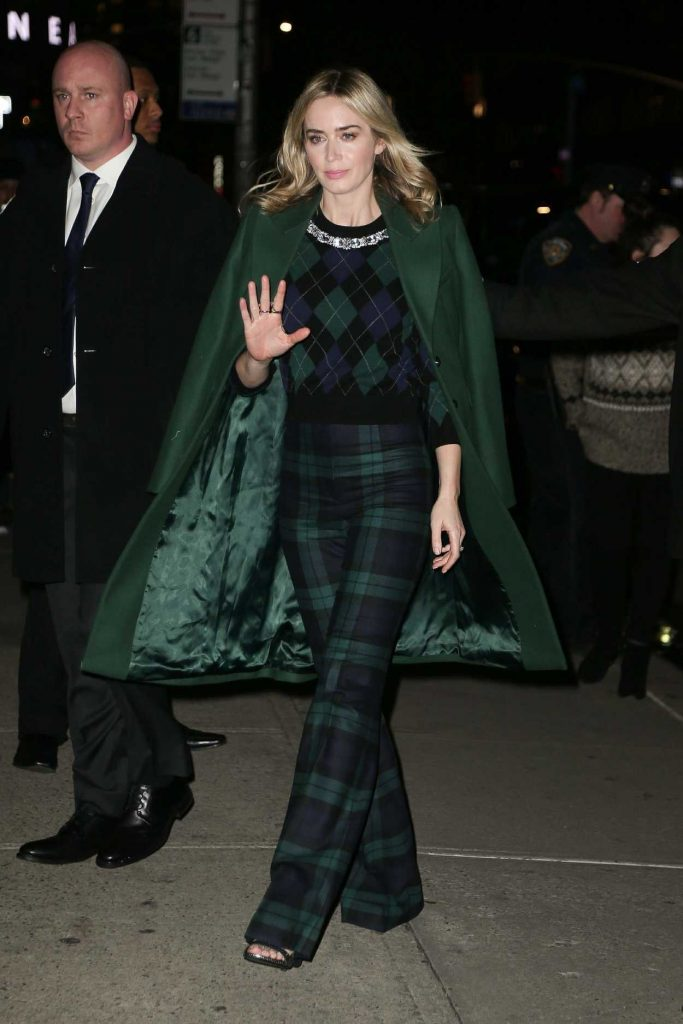 Emily Blunt in a Green Coat