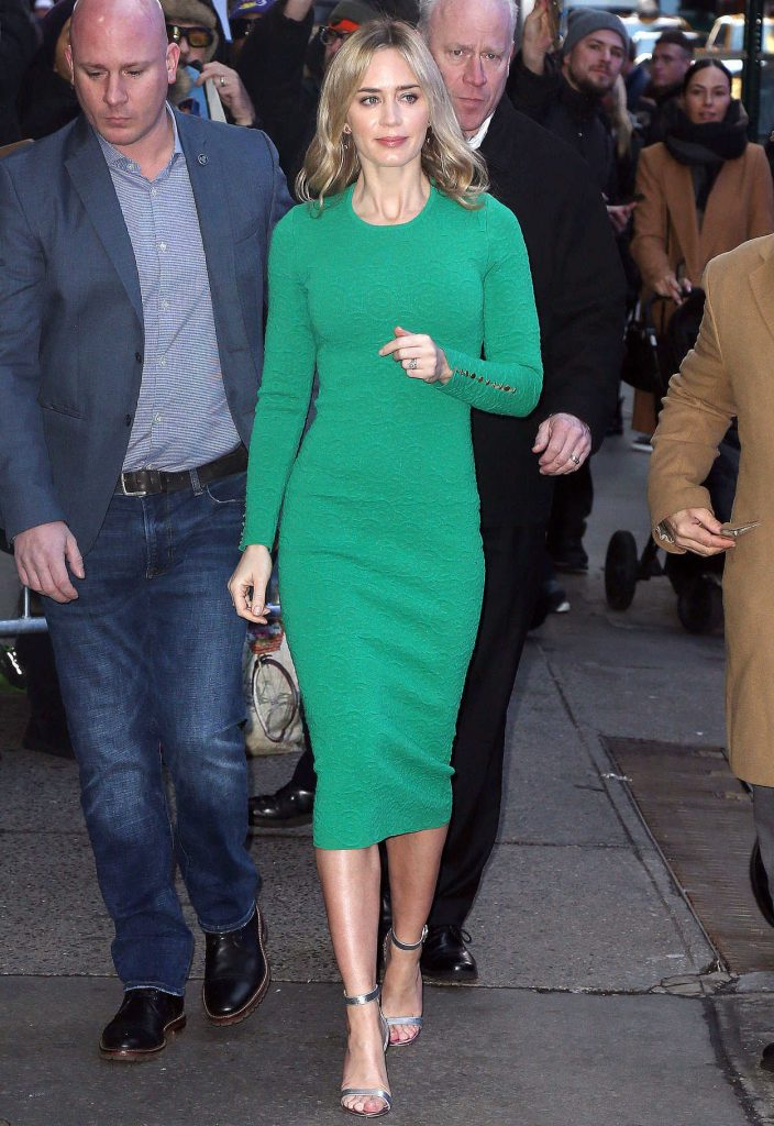 Emily Blunt in a Green Dress