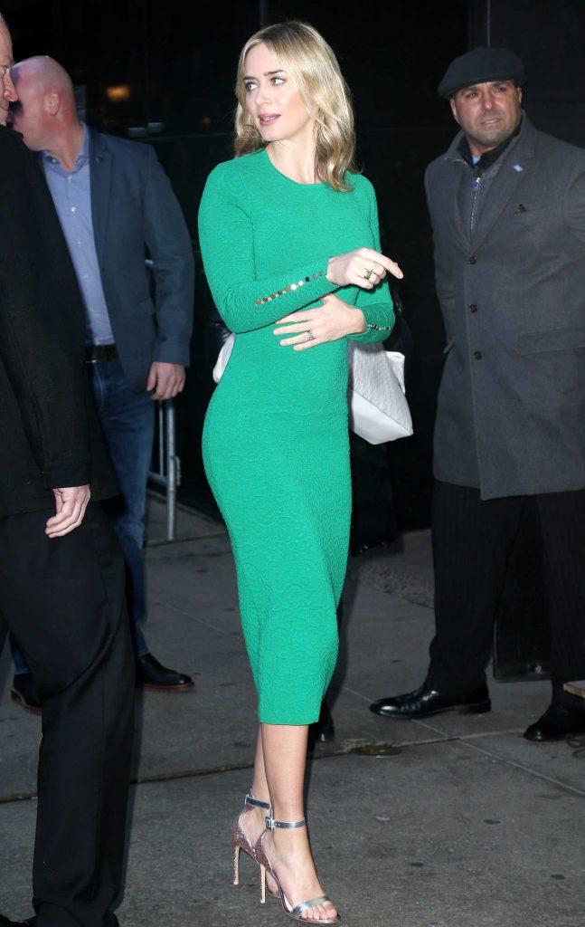 Emily Blunt in a Green Dress