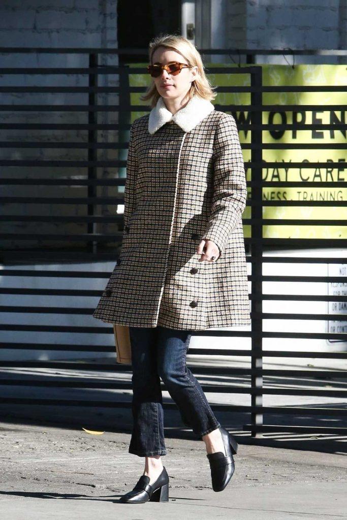 Emma Roberts in a Beige Plaid Coat