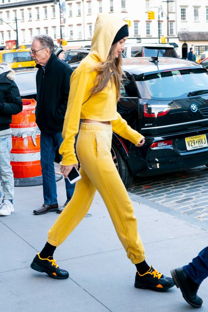 Gigi Hadid in a Yellow Jogging Suit