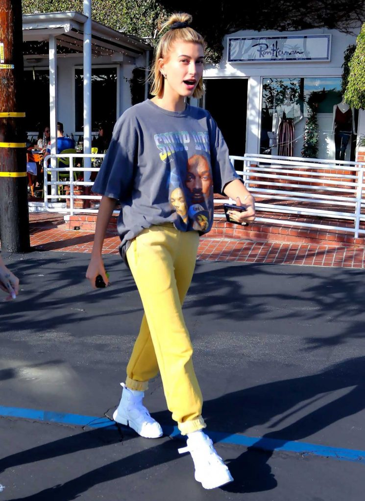 Hailey Baldwin in a Yellow Pants
