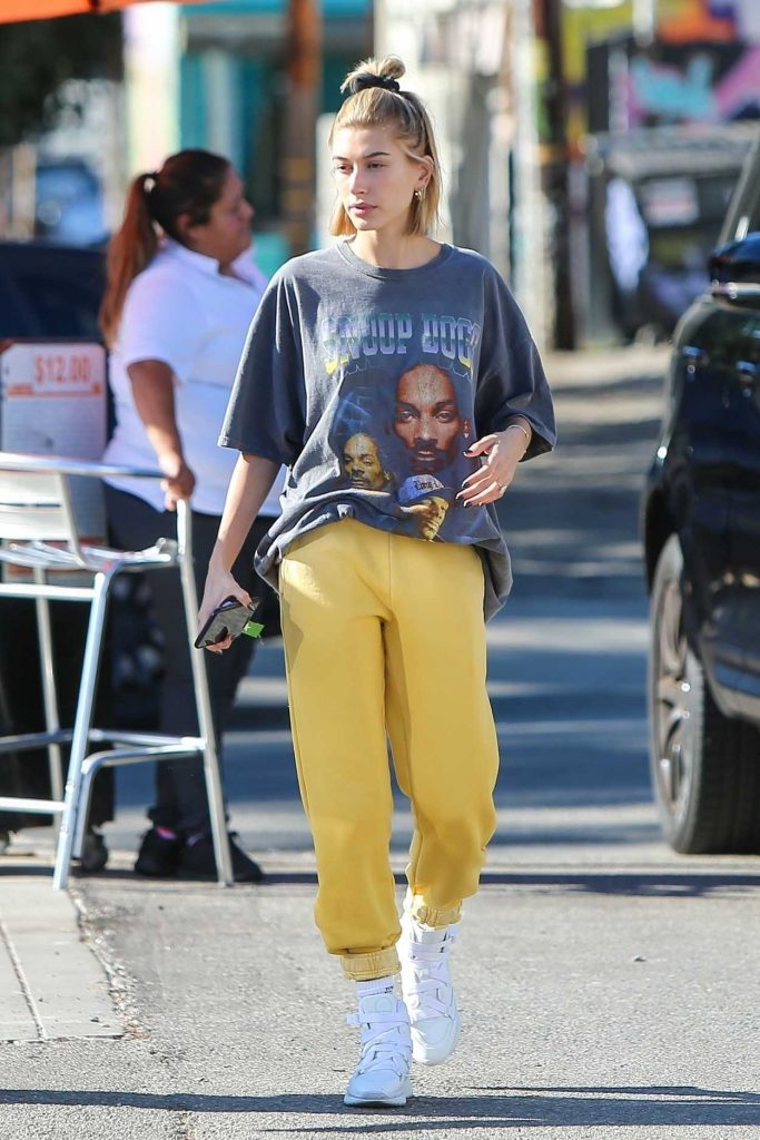 Hailey Baldwin in a Yellow Pants
