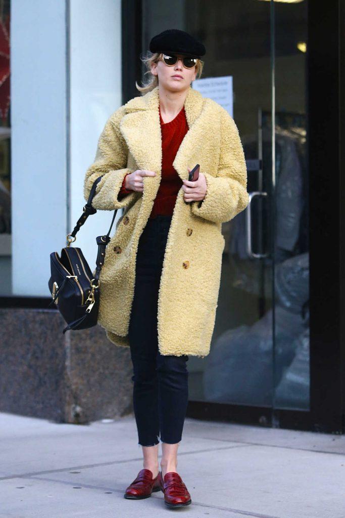 Jennifer Lawrence in a Yellow Fur Coat
