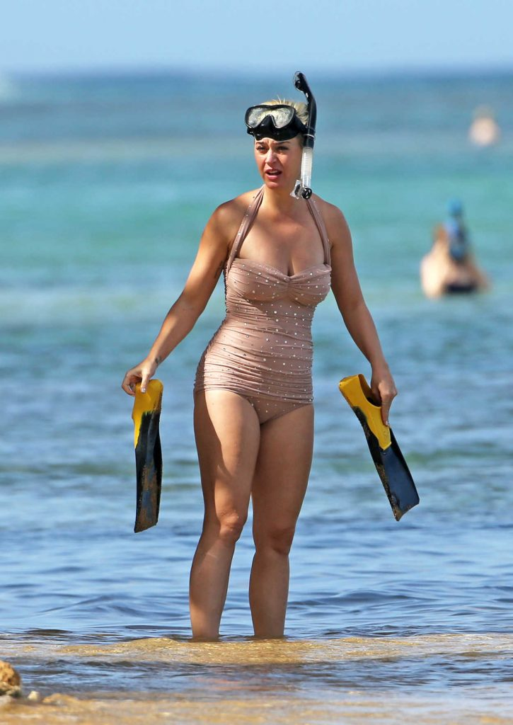 Katy Perry in a Beige Swimsuit
