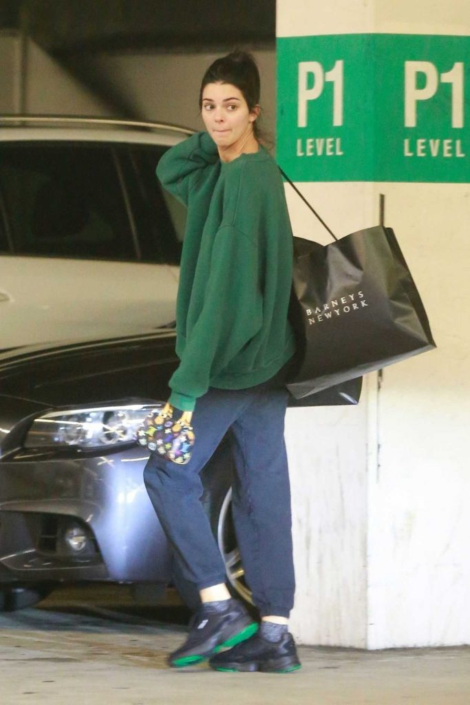 Kendall Jenner in a Green Sweatshirt