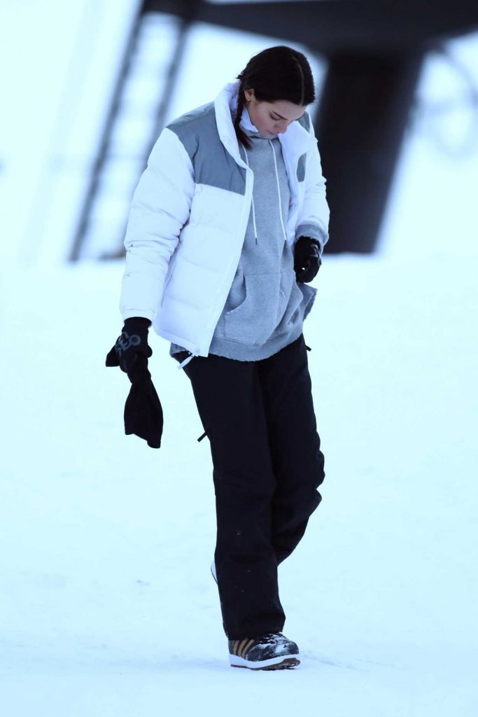 Kendall Jenner in a White Puffer Jacket