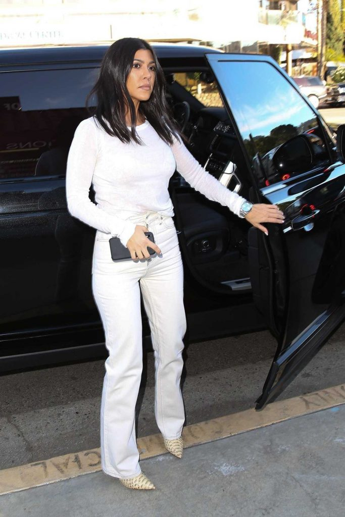 Kourtney Kardashian in a White Jeans