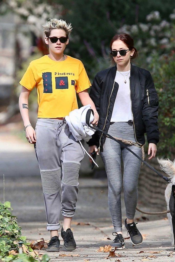 Kristen Stewart in a Yellow T-Shirt