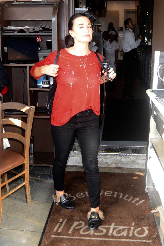 Kyle Richards in a Red Blouse