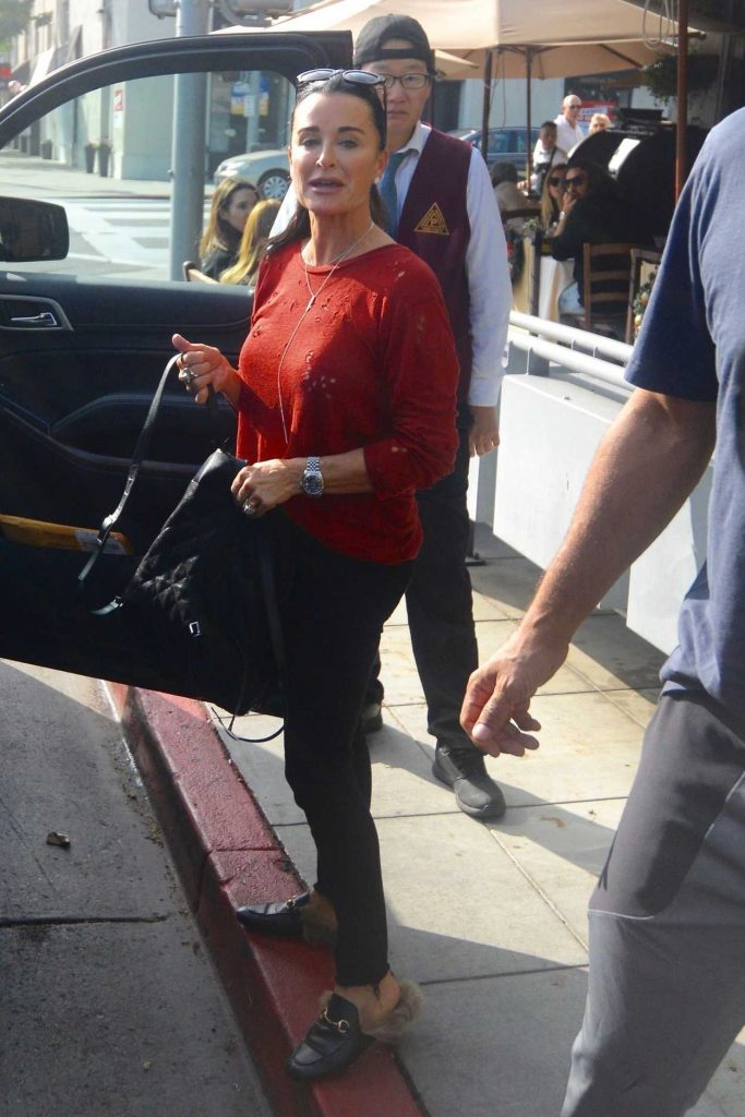Kyle Richards in a Red Blouse Enjoys a Christmas Eve Lunch in Los Angeles 12/24/2018