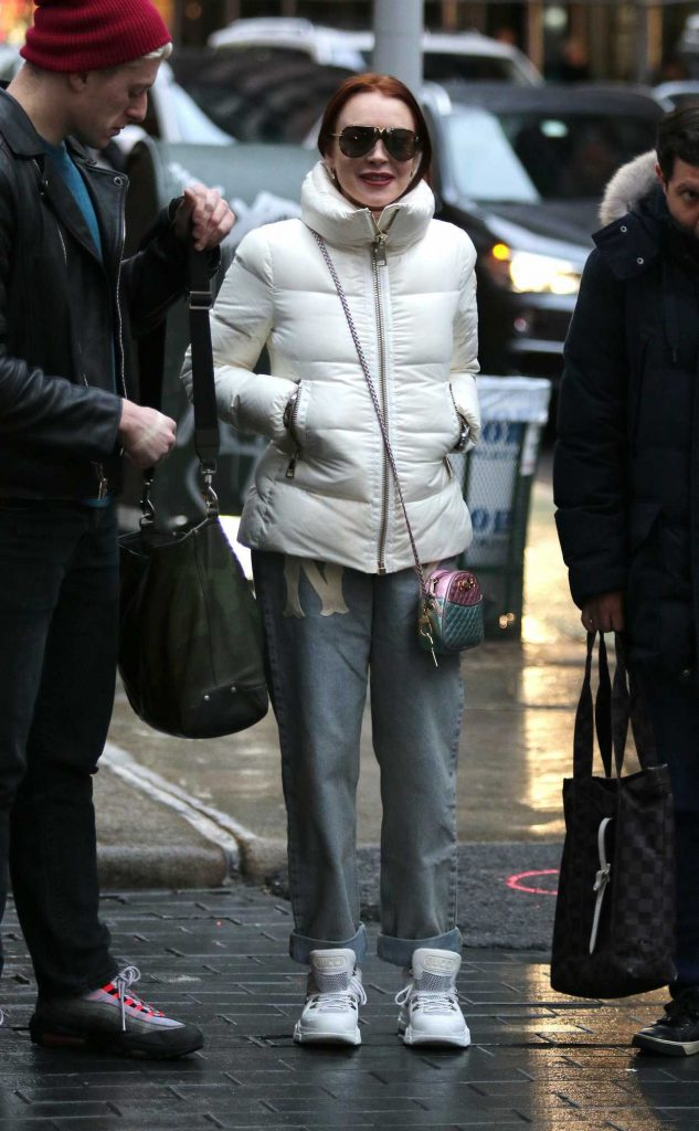 Lindsay Lohan in a White Puffer Jacket