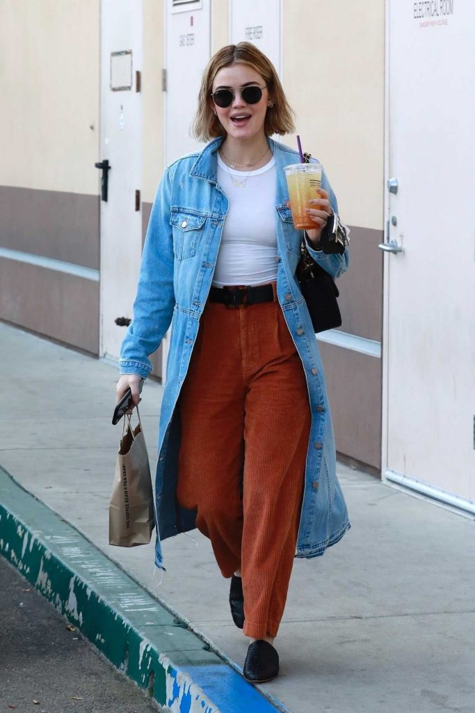 Lucy Hale in a Blue Denim Trench Coat