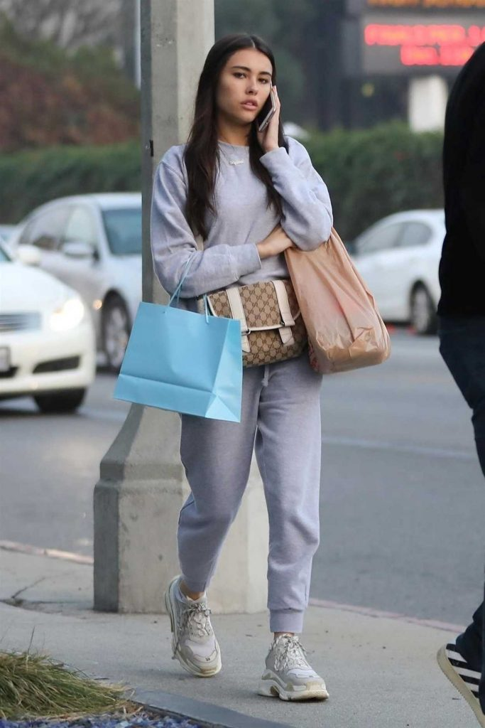 Madison Beer in a Gray Jogging Suit