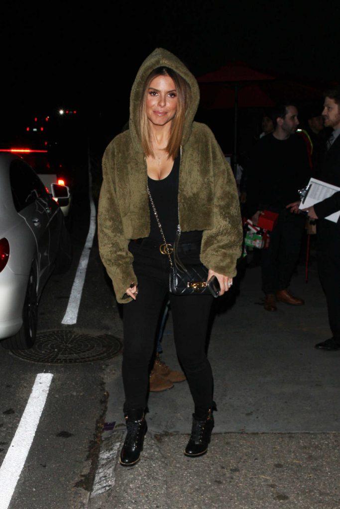 Maria Menounos in a Short Fur Coat