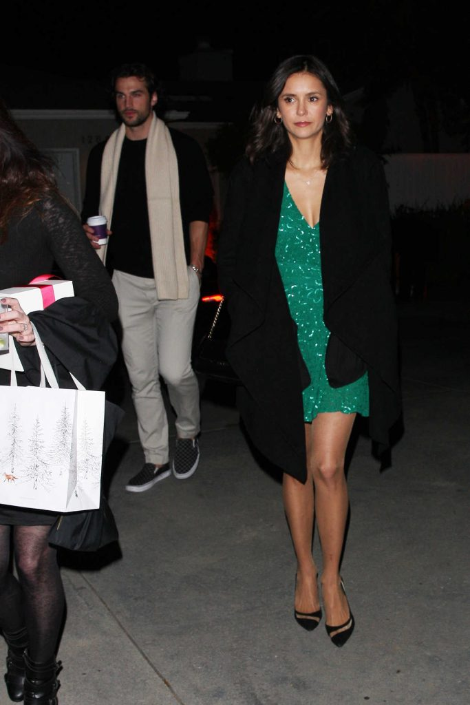 Nina Dobrev in a Short Green Dress