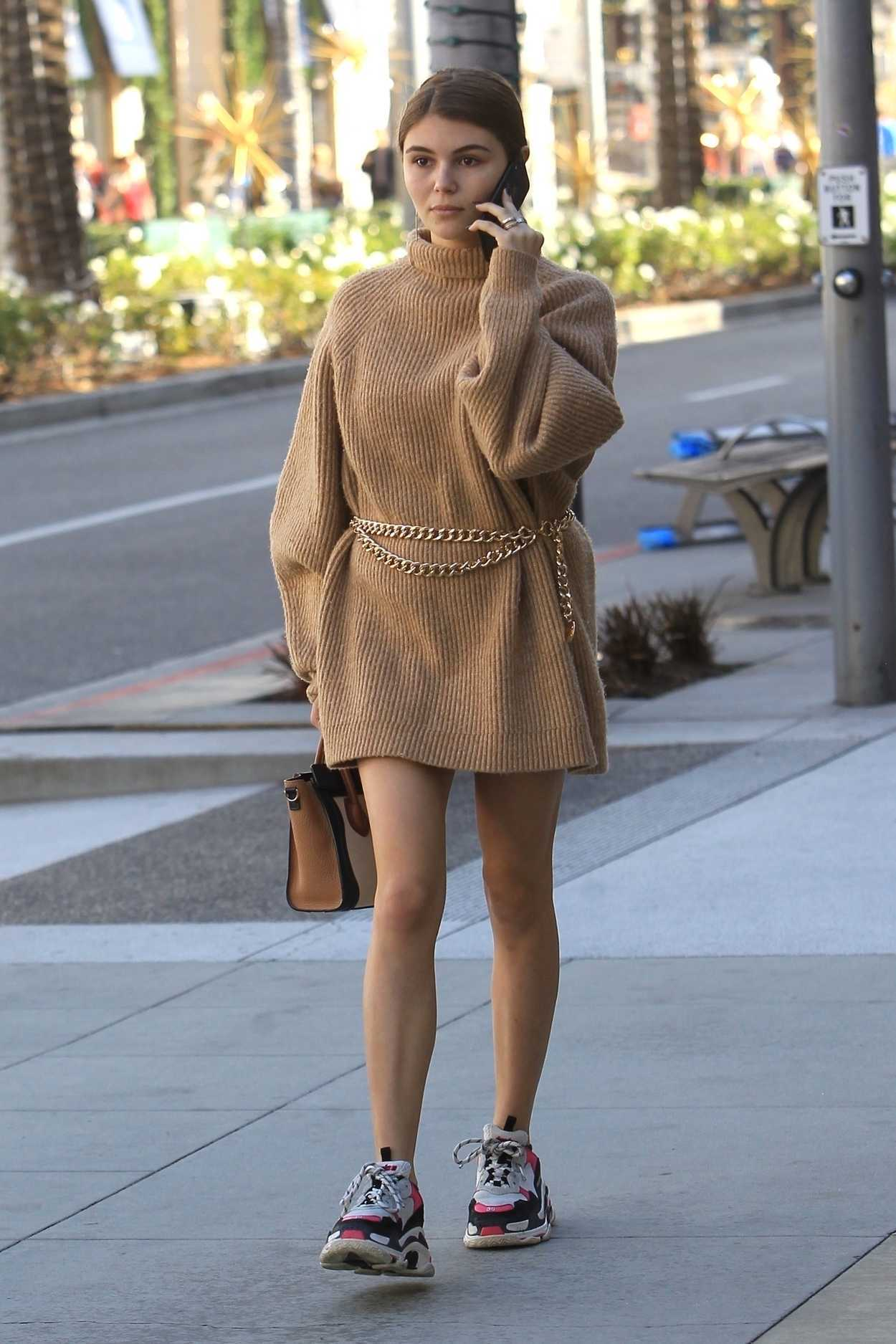 olivia jade in a beige dress goes shopping in beverly