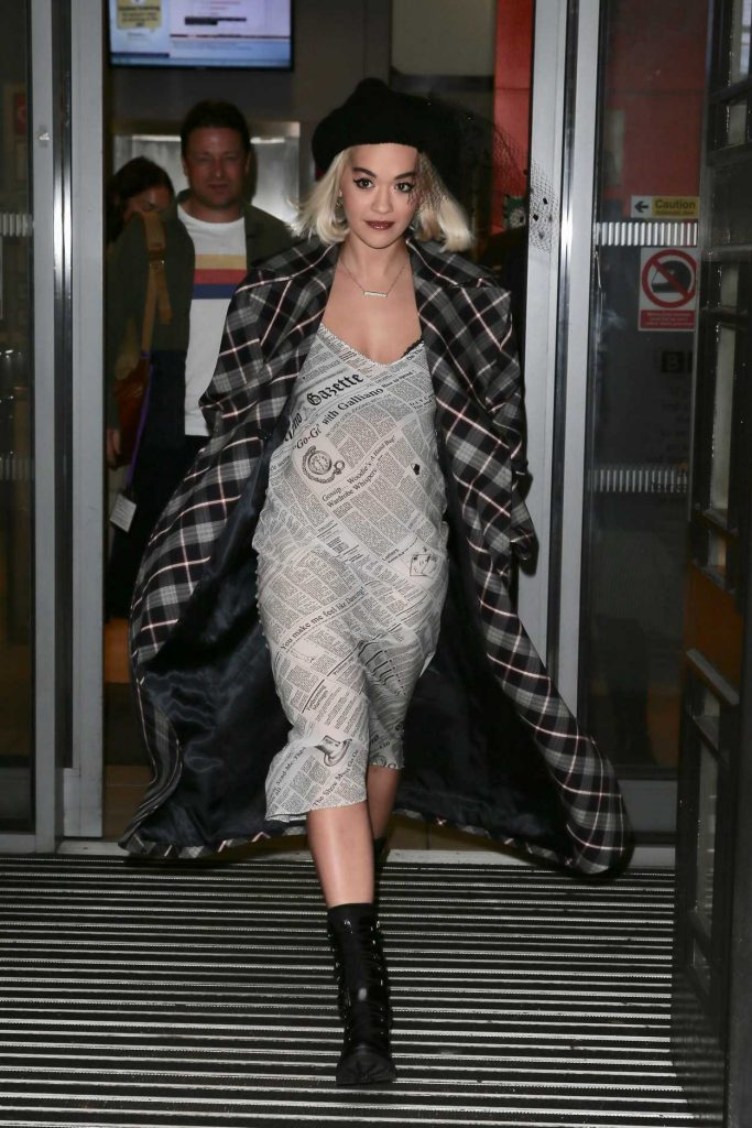 Rita Ora in a Plaid Trench Coat