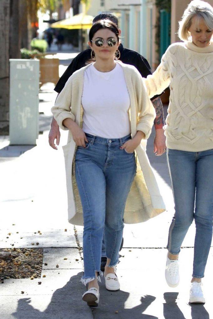 Selena Gomez in a Beige Cardigan
