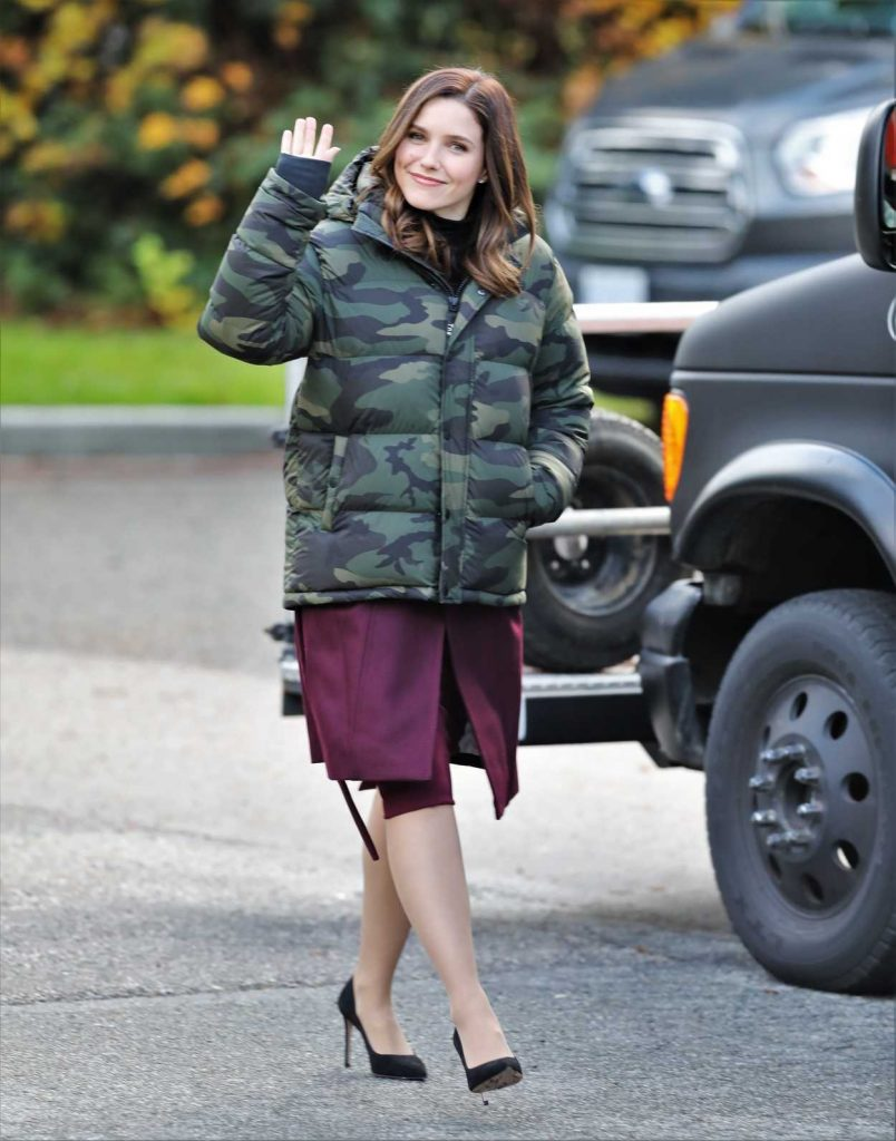 Sophia Bush in a Camo Down-Padded Coat