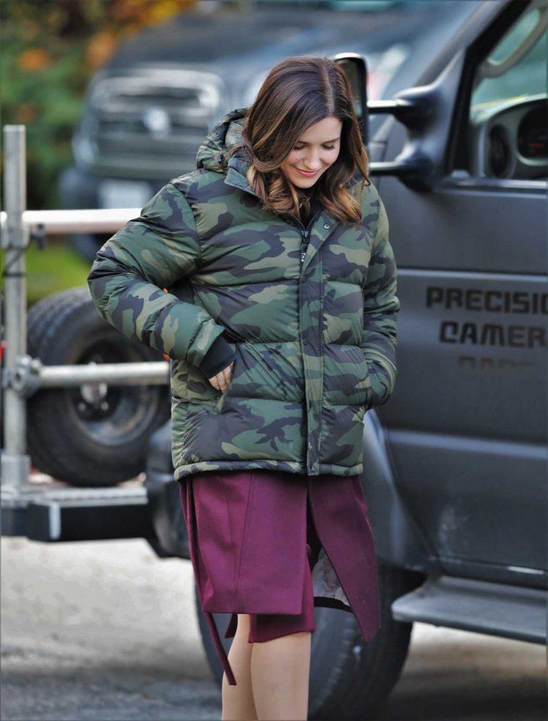 Sophia Bush in a Camo Down-Padded Coat