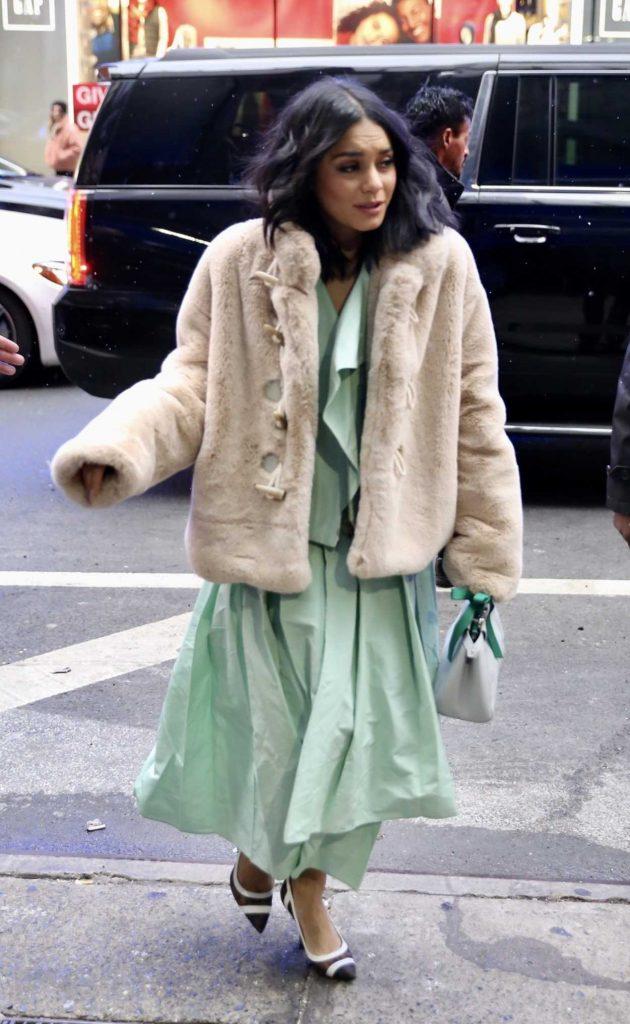 Vanessa Hudgens in a Short Beige Fur Coat