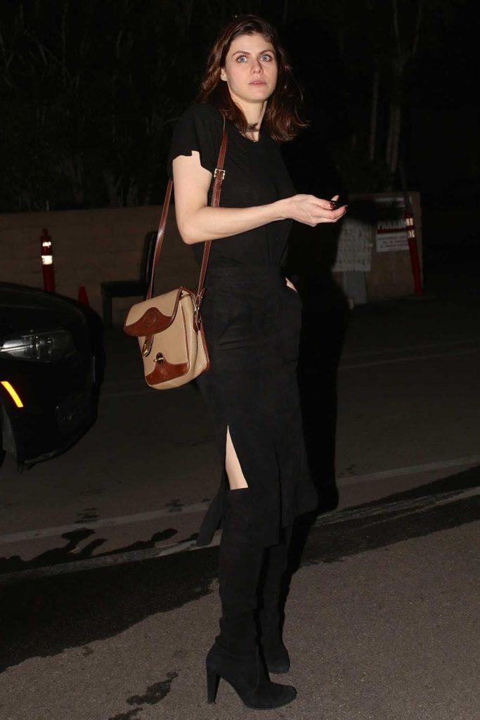 Alexandra Daddario in a Black Dress