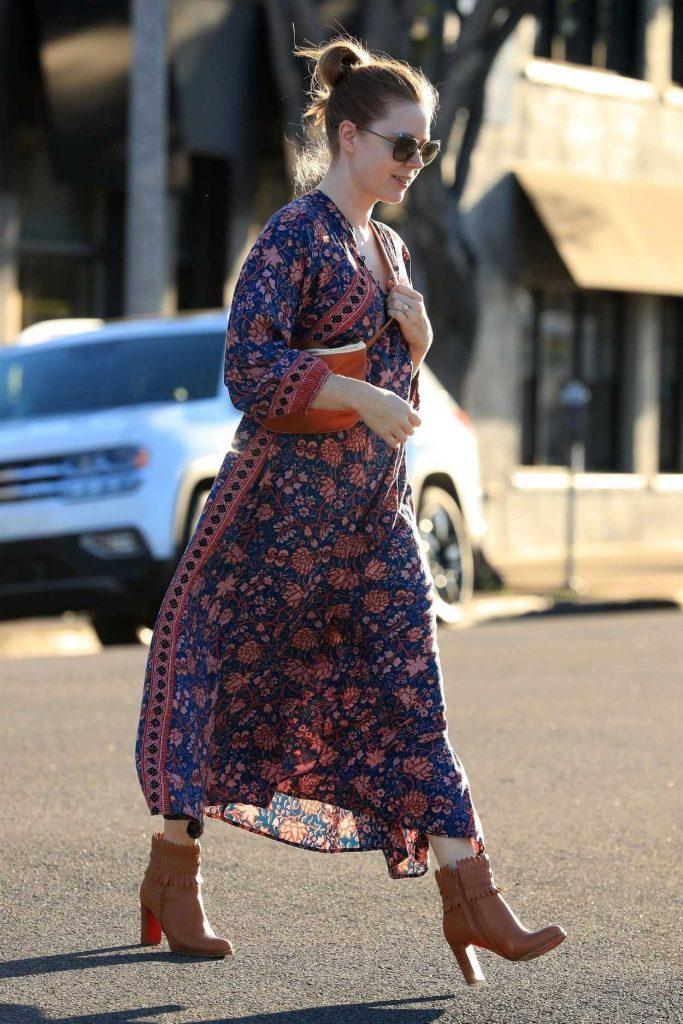 Amy Adams in a Floral Print Dress