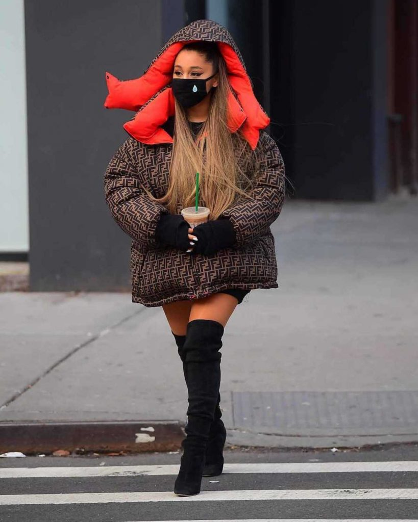 Ariana Grande in a Brown Fendi Puffer Jacket