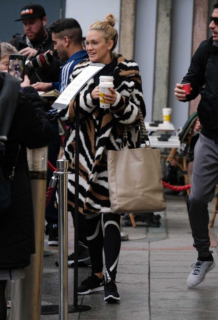 Ashley Roberts in an Animal Print Fur Coat