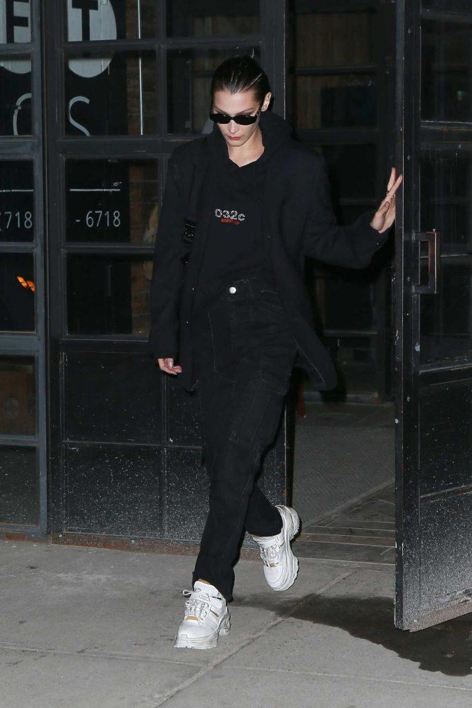 Bella Hadid in a Black Hoody