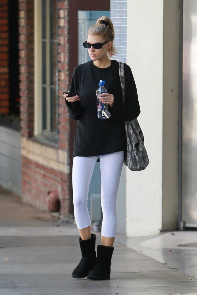 Charlotte McKinney in a White Leggings